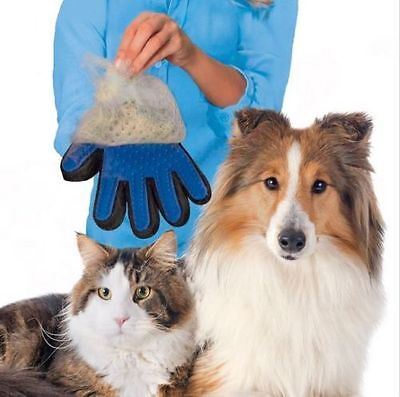 Massage True Glove Touch Deshedding Soft Efficient Pet Grooming Dogs Cats New
