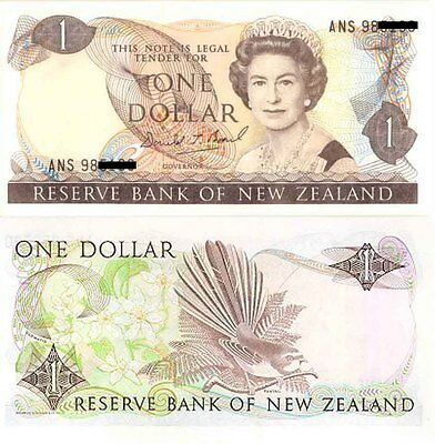 New Zealand Mint Last Prefix $1 ANS  Paper Banknote Brash signature Issue p169c