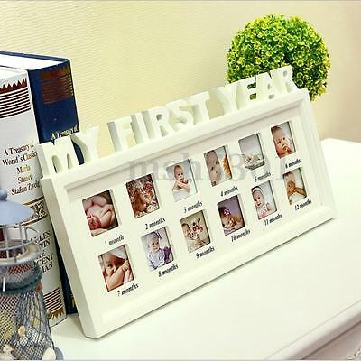 MY FIRST YEAR Baby Photo Picture Collage Wood Frame 12 Months Birthday Gift