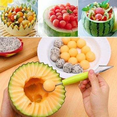 Cream Kitchen Stainless Steel Scoop Spoon Double-End Fruit Melon Cutter Baller
