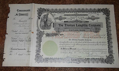 The Thomas Laughlin Company Stock Certificate, Signed, Five Shares, 1907, Stamps