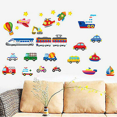 Transport Vehicles Cars Wall Stickers Decals Nursery Boys Bedroom Kids Home HOT