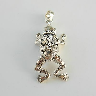 Sterling Silver Articulated Frog Pendant Hallmarked