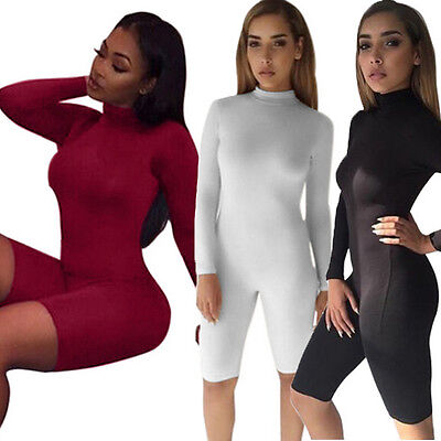US Ship Women Ladies Clubwear Long Sleeve Playsuit Bodycon Party Jumpsuit Romper