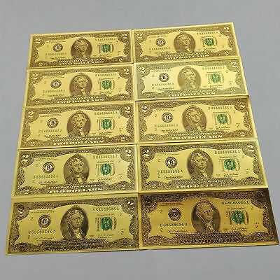 New 10pcs USD 2 dollar 24K Gold Foil Golden Paper Money Banknotes Crafts UNC