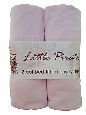 2 x Baby Cot Bed Fitted sheet 70x140 100% cotton jersey BNIP Pink
