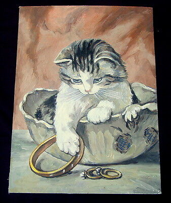 Antique Russian Original Oil Painting CAT PLAYING WITH JEWELRY Funny Kitty, Rare