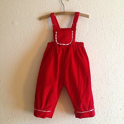 Vintage 80s Pillar Box Red Corduroy Quilted Dungarees 1-2 Y