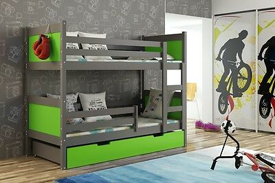 BUNK BED - GRAPHITE FRAME - 3 COLOUR PANELS ,STORAGE, DRAWERS(inc.2x mattresses)