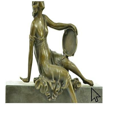 Large Vintage / Art Nouveau Solid Bronze Sculpture Of Women With Tambourine Sa A