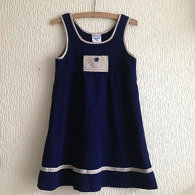 Vintage Girls 1970s Navy Blue Mod Tartan Acrylic Mothercare Pinafore Dress 4-5 Y