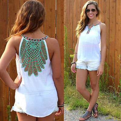 USA Fashion Women Summer Loose Top Sleeveless Blouse Ladies Casual Tops T-Shirt