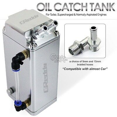 JDM Alloy Silver 1L Oil Catch Tank Can with 9mm or 15mm Fitting (Complete Kit)