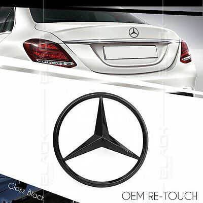 OEM 3 POINT REAR GLOSS BLACK STAR LOGO EMBLEM FOR MERCEDES BENZ W205 C CLASS 4Dr