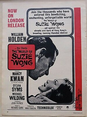 Vintage Print Advert for 1961 Movie The World of Suzie Wong, William Holden