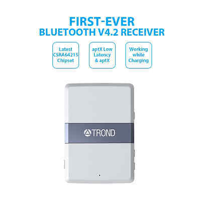 TROND 3.5mm Bluetooth V4.2 Audio Receiver Adapter with AptX Low Latency Volume