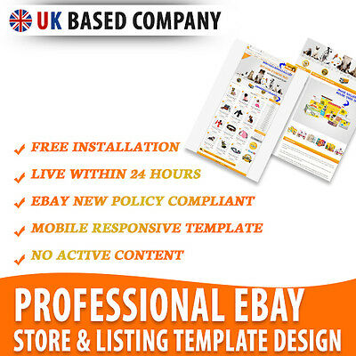 Professional eBay Store Shop for Pets, eBay Listing Mobile Responsive Templates