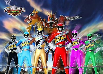 Unofficial POWER RANGERS DINO CHARGE (5) glossy A4 print Poster T-Rex