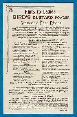 """Early 1900's Advertising Insert For Bird's Custard Powder """"hints To Ladies"""""""