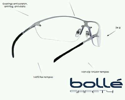 Bolle Silium Safety Glasses Spectacles - Clear Lens - Anti Mist - SILPSI
