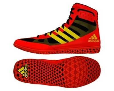 Adidas Mat Wizard 3 Red Yellow Wrestling Boots Shoes Adults Mens Pro BB2859
