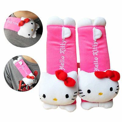 1 Pair Hello Kitty Car Seat Safety Belt Shoulder Cover Accessory Plush Pads Set