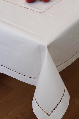 Tablecloth 100% Cotton or Linen Dining - Hemstitch Table Linen Cloth White