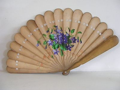 Ladies Wooden Fan. Hand Painted Floral Design
