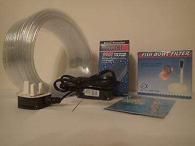 Complete Fish Bowl Filter Kit with Air Pump, Air Hose, Check Valve and Filter
