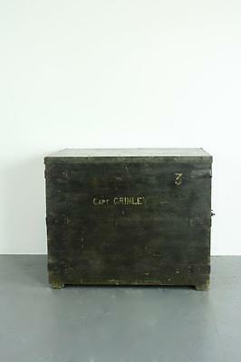Vintage Victorian Old Wooden Sailors Chest Trunk Blanket Box #1938