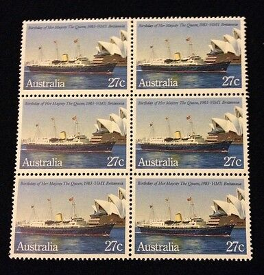 Bargain MNH 1983 Birthday of Queen on HMY 27c stamp - Block of 6 - No Marks