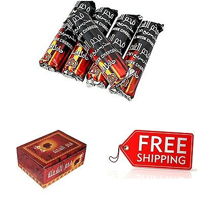 50 PCS Hookah Charcoal Quick Lite Shisha Coal Incense 5 Rolls