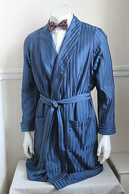 vintage St Michael blue stripe silky dressing gown smoking jacket 60s mens M 40""