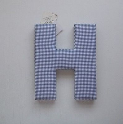 "Vintage French wall decor Letter Blue White Gingham 12""    H"