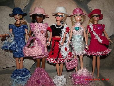 Barbie doll clothes , hand knit dresses with accessories!