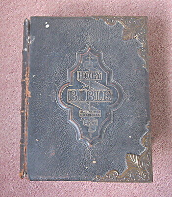 Antique Illustrated Family Bible By Rev'd John Eadie - Colour Plates - Leather