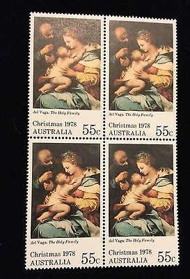 Bargain MNH 1978 Christmas 55c Stamps - Block of 4 - No Marks
