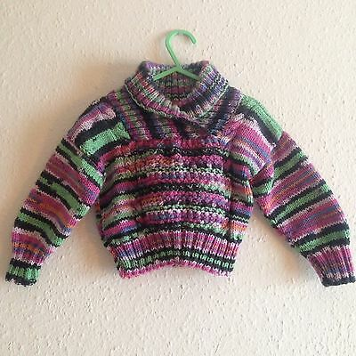 Baby Hand Knit Rainbow Pastel Retro Multi Coloured Turtleneck Jumper 6-12m