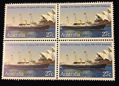Bargain MNH 1983 Birthday of Queen on HMY 27c stamp - Block of 4 - No Marks
