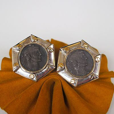 14k Yellow Gold Vintage Sterling Silver ROMAN Coin Clip Ladies Earrings