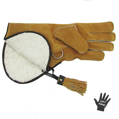 """Falconry Glove - Slight 2nds - 2 Layer 14"""" Suede Leather Fleece Lined - 50% OFF"""