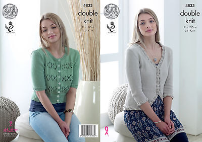 King Cole Ladies Double Knitting Pattern Cardigan with Lace or Trim Detail 4833
