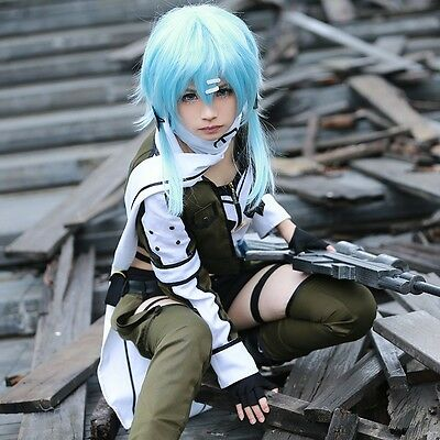 Asada Shino Cosplay GGO Sword Art Online Sinon Military Costume With Headwears