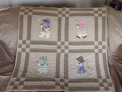 Cute Hand Quilted Sunbonnet Kids Vintage Baby Blanket Or Wall Hanging 34X34""