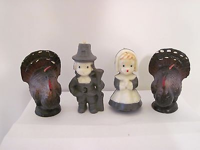 Set of 4 Vintage Gurley Turkey and Pilgrim Candles
