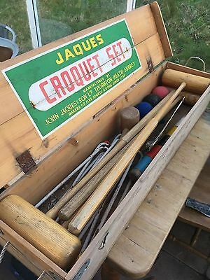 Vintage Jaques Croquet Set In Wooden Box 4 Person Player Mallets Lawn Game