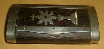 Nice Vintage Wood And Metal Long Snuff Box Cross Decoration