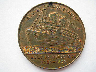 1939 Mauretania medal made from metal of old ship, Titanic interest