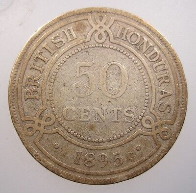 Honduras British 50 Cents 1895 Silver #p Belize Low Mintage Victoria Crown Coin