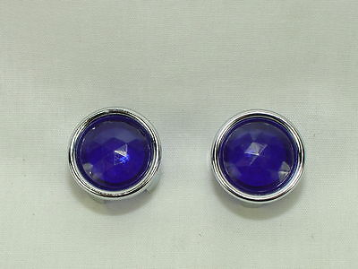 Blue Dot Inserts W/ Chrome Retainers and Instructions (PAIR) Show Quality